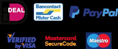 ideal, bancontact mister cash, paypal, visa, mastercard, maestro